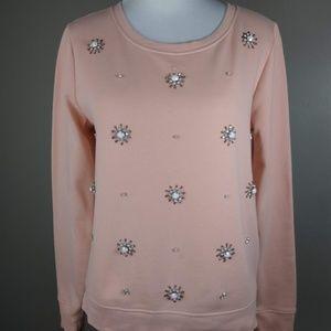 Loft Embellished Beads Long Sleeve Shirt Small